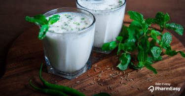 Glasses of freshly prepared buttermilk